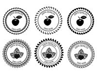 Äpple och jordgubbe för logo svart vitt Royaltyfri Fotografi