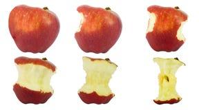 äpple som är äten följd royaltyfri fotografi