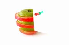 äppleanmärkningswhite Arkivfoto