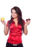 äpplechoklader som rymmer kvinnan ung royaltyfria foton