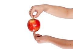 äpplehanden - välj upp arkivbilder