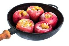 Äpplekakor med russin, honung och pudrat socker Arkivfoto