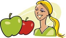 äpplekvinna royaltyfri illustrationer
