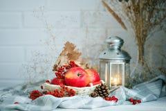 Äpplen, bär och höstsidor på en trätabell höstbakgrundscloseupen colors orange red för murgrönaleaf Arkivbilder
