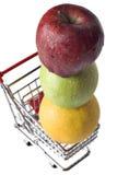 äpplen cart miniatyrorange shopping Arkivbilder