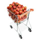 äpplen cart röd shopping Stock Illustrationer