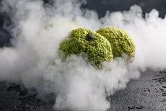 Äpplen för Adam ` s på en svart bakgrund i rök Äpplen för Adam ` s, som drakeägg som slås in i rök Royaltyfria Bilder