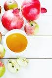 Äpplen, honung och granatäpplen, traditionell mat för det judiskt Royaltyfri Bild