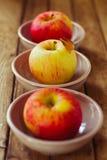 Äpplen i bunkar Royaltyfria Foton