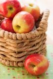 Äpplen i en korg Arkivbild
