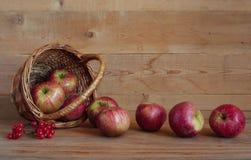 Äpplen i en korg på en träbakgrund Arkivbilder