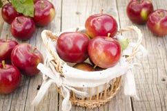 Äpplen i en korg på en trätabell Royaltyfria Bilder