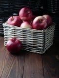 Äpplen i en vide- korg Arkivfoton