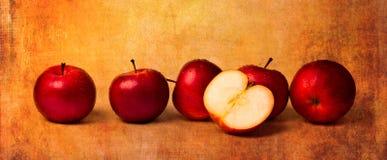Äpplen i rött Arkivbilder
