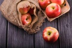 Äpplen i säck och ask Arkivbild