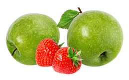 äpplen isolerade vita jordgubbar Arkivfoton