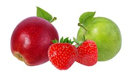 äpplen isolerade vita jordgubbar Arkivbild