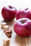 Äpplen, kanel och socker Fotografering för Bildbyråer