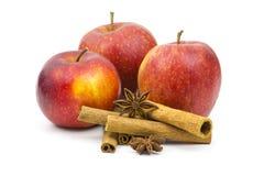 Äpplen, kanelbruna pinnar och anis Fotografering för Bildbyråer