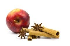 Äpplen, kanelbruna pinnar och anis Arkivbilder