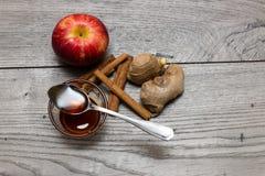 Äpplen, kanelbruna pinnar och ingefära Arkivbild