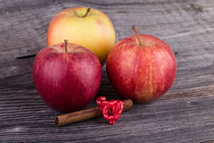 Äpplen med kanel på träbakgrund Fotografering för Bildbyråer