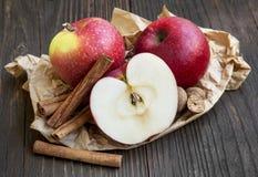 Äpplen med kanelbruna pinnar och muskotnöt Royaltyfri Bild