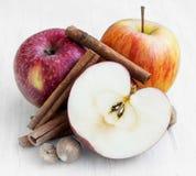 Äpplen med kanelbruna pinnar och muskotnöt Royaltyfria Foton