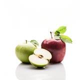 Äpplen med liv Rött gräsplan Isolerat på vit Reflexion Royaltyfri Fotografi