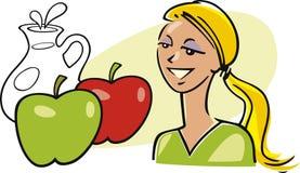 äpplen mjölkar kvinnan stock illustrationer