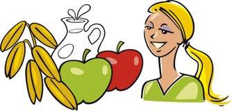 äpplen mjölkar oatkvinnan vektor illustrationer