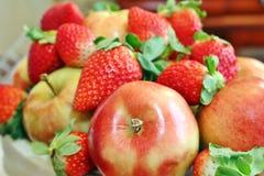 Äpplen och bär Fotografering för Bildbyråer