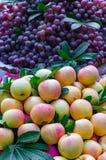 Äpplen och druvor skivad half ananas för bakgrundssnittfrukt Arkivbilder