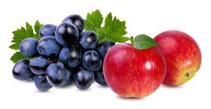 Äpplen och druvor som isoleras på vit Arkivfoton