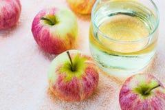 Äpplen och fruktsaft Fotografering för Bildbyråer