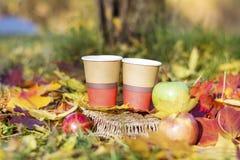 Äpplen och kaffekoppar i höst parkerar Arkivbilder