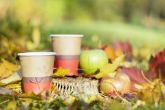 Äpplen och kaffekoppar i höst parkerar Arkivbild