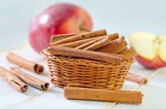 Äpplen och kanel Arkivfoton