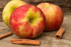 Äpplen och kanelbruna pinnar Arkivfoto