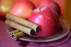 Äpplen och kanelbruna pinnar på tefatet på lilor ytbehandlar Royaltyfri Fotografi