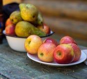 Äpplen och päron i en platta på tabellen frukter Royaltyfri Fotografi