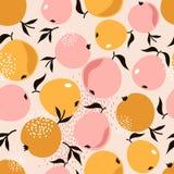 Äpplen och sidor, färgrik sömlös modell royaltyfri illustrationer