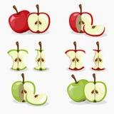 äpplen och uppsättning för äpplesnittfrukt Royaltyfri Foto