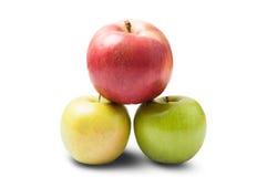 äpplen olika tre Arkivfoto