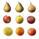 Äpplen päron, frukt som isoleras på vit Royaltyfria Bilder