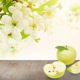 Äpplen på abstrakt bakgrund med gröna sidor Royaltyfri Fotografi