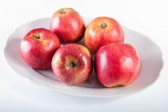 Äpplen på den vita plattan Arkivfoton