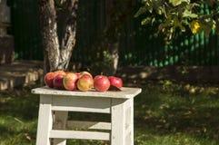 Äpplen på den vita stolen Arkivfoto