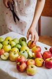Äpplen på den vita tabellen Söta äpplen på tabellen på ljus backgrou Royaltyfri Bild