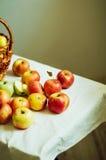 Äpplen på den vita tabellen Söta äpplen på tabellen på ljus bakgrund Royaltyfria Bilder